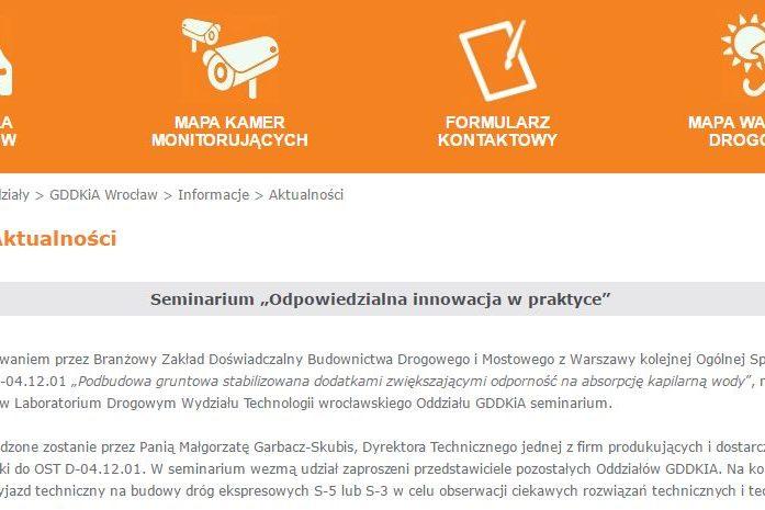 Zdjęcie przedstawia fragment strony GDDKiA mówiący owydarzeniu wktórymwziął udział Nascon.