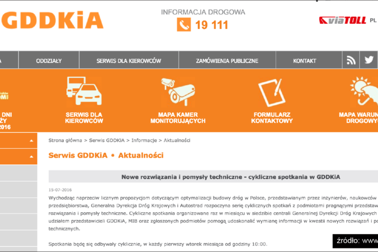Fragment strony GDDKiA opisujący wydarzenie dotyczące nowych pomysłów wdrogownictwie wtym dodatków hydrofobowych