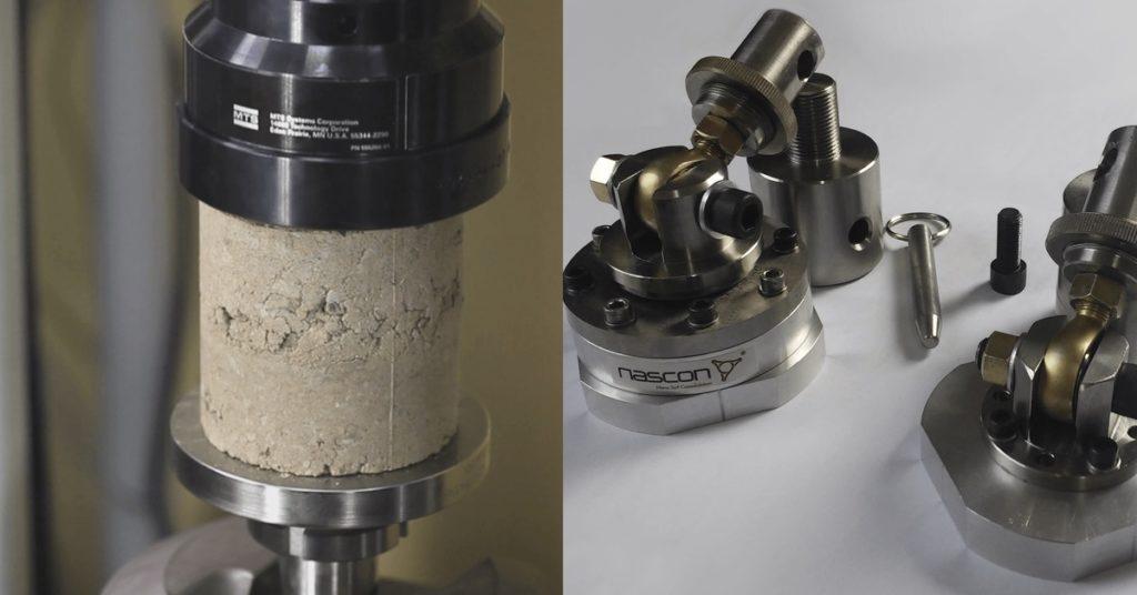 Badanie nadynamicznej maszynie wytrzymałościowej MTS. Adaptery dopróbek walcowych.