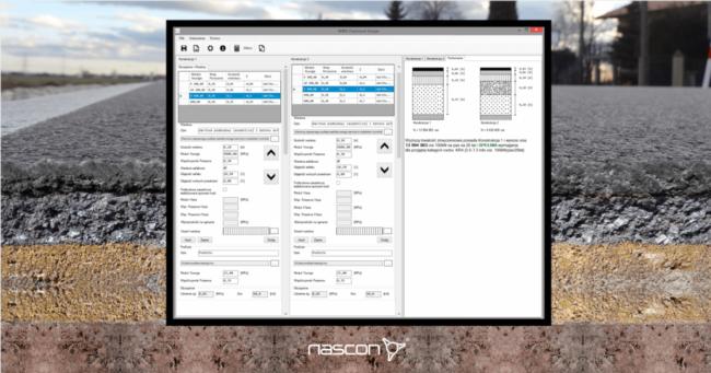 Ekran programu do projektowania konstrukcji drogowych metodą mechanistyczną. Program MWS Pavement Design spółki Nascon.