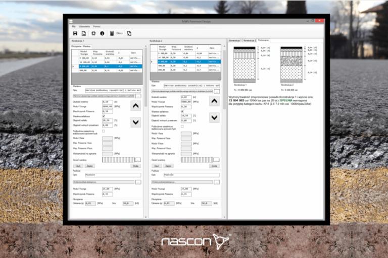 Ekran programu doprojektowania konstrukcji drogowych metodą mechanistyczną. Program MWS Pavement Design spółki Nascon.